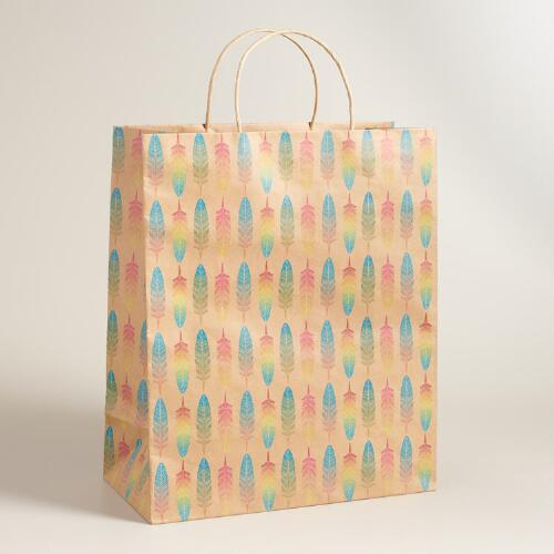 Jumbo Feather Kraft Gift Bag