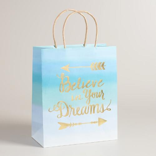 Large Believe In Your Dreams Kraft Gift Bags Set of 2