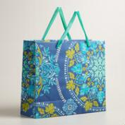Extra Large Blue Zoom Medallion Handmade Gift Bag
