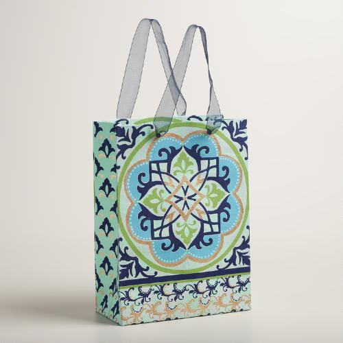 Large Blue and Green Medallion Handmade Gift Bag