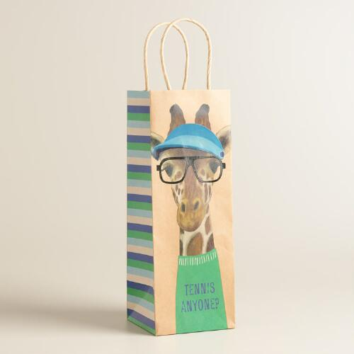 Hipster Giraffe Kraft Wine Bags Set of 2