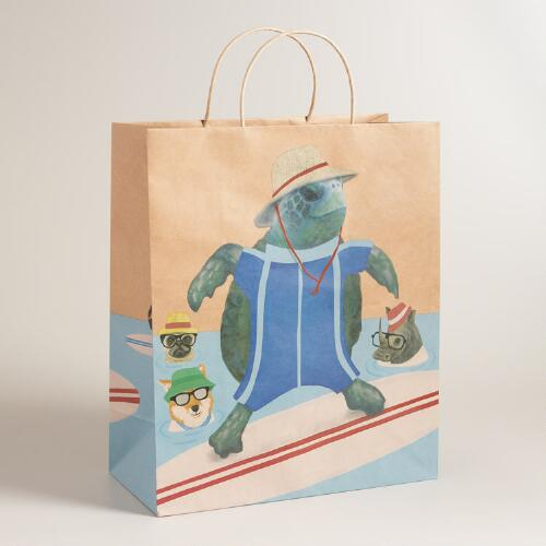 Jumbo Hipster Animals Kraft Gift Bag