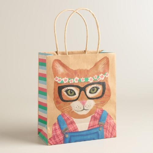Medium Hipster Kitty Kraft Gift Bags Set of 2