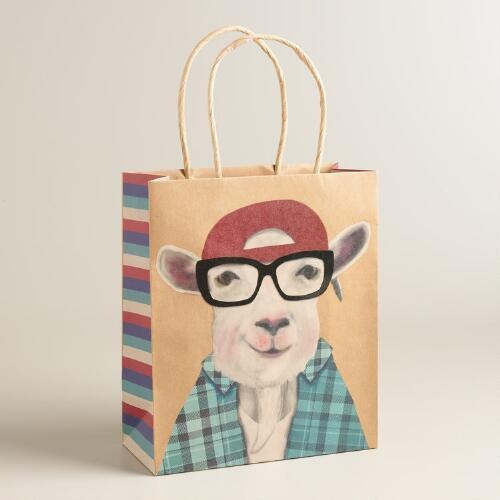 Medium Hipster Goat Kraft Gift Bags Set of 2