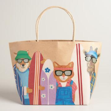 Hipster Animals Kraft Market Bags Set of 2