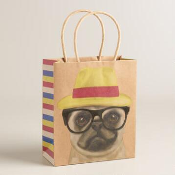 Small Hipster Pug Kraft Gift Bags Set of 2
