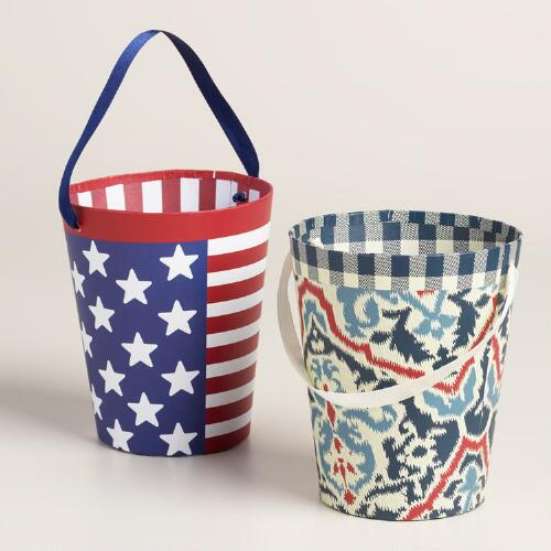 Block Party Paper Buckets Set of 2