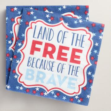 Land of the Free Beverage Napkins 20 Count