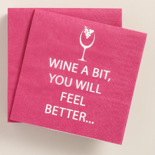 Wine a Bit Beverage Napkins 20 Count