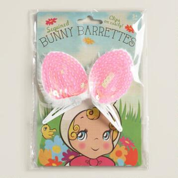 Sequined Bunny Ear Clips Set of 2