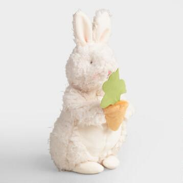 White Plush Bunny With Carrot