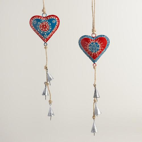 Red White and Blue Metal Hearts Hanging Decor Set of 2