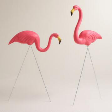 Pink Flamingo Lawn Ornaments 2 Pack