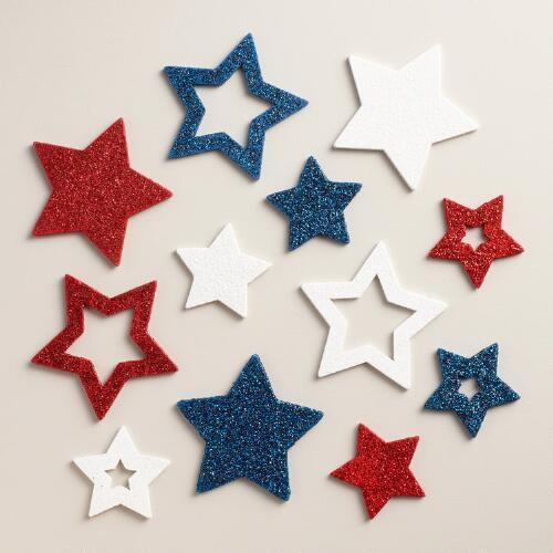 21 Piece Wood Patriotic Scatter Stars Set of 2