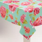 Aqua and Pink Floral Blake Tablecloth