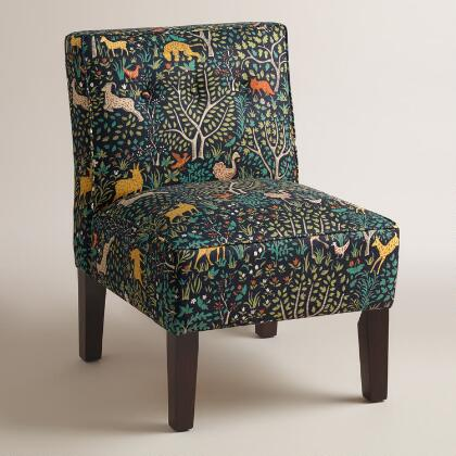 Multicolor Print Randen Upholstered Chair with Wood Legs