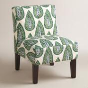 Green Print Randen Upholstered Chair with Wood Legs