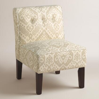 Neutral Print Randen Upholstered Chair with Wood Legs