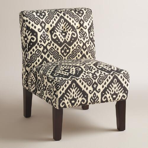 Charcoal Randen Upholstered Chair with Wood Legs