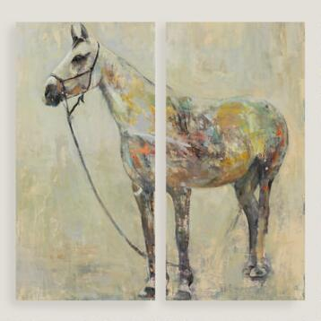 Horse of a Different Color Diptych I and II by Leila