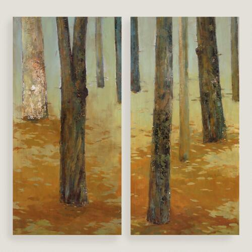 Tree Panel Diptych I and II by Elinor Luna