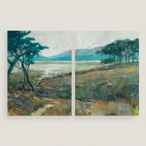 Distant Blues Diptych I and II by Elinor Luna
