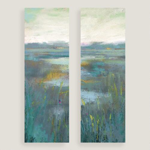 Misty Moors Teal I and II Diptych by Karen Margulis