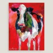 Bovine Portrait in Red by Richard Wallich