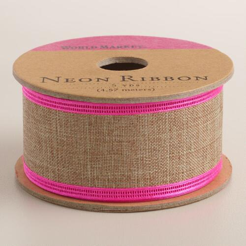 Burlap Ribbon with Neon Edges Set of 4
