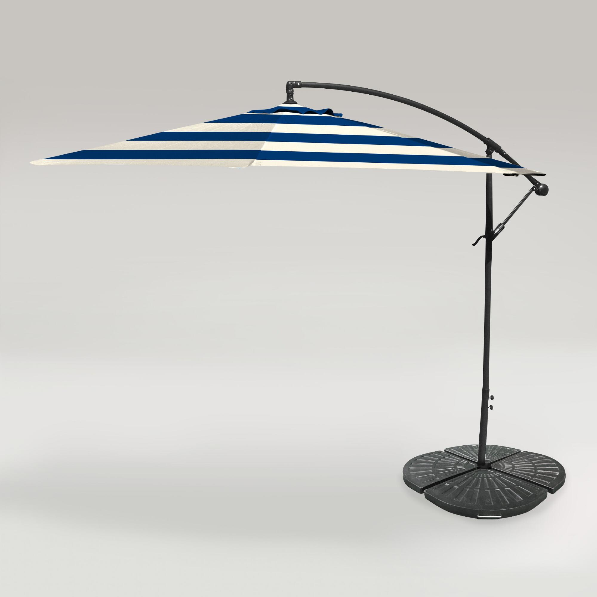 Umbrella Stand Next: Cafe Stripe Outdoor 10 Ft Cantilever Umbrella And Weight