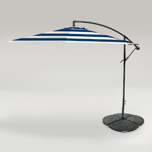 Cafe Stripe Outdoor 10 ft Cantilever Umbrella and Weight Base