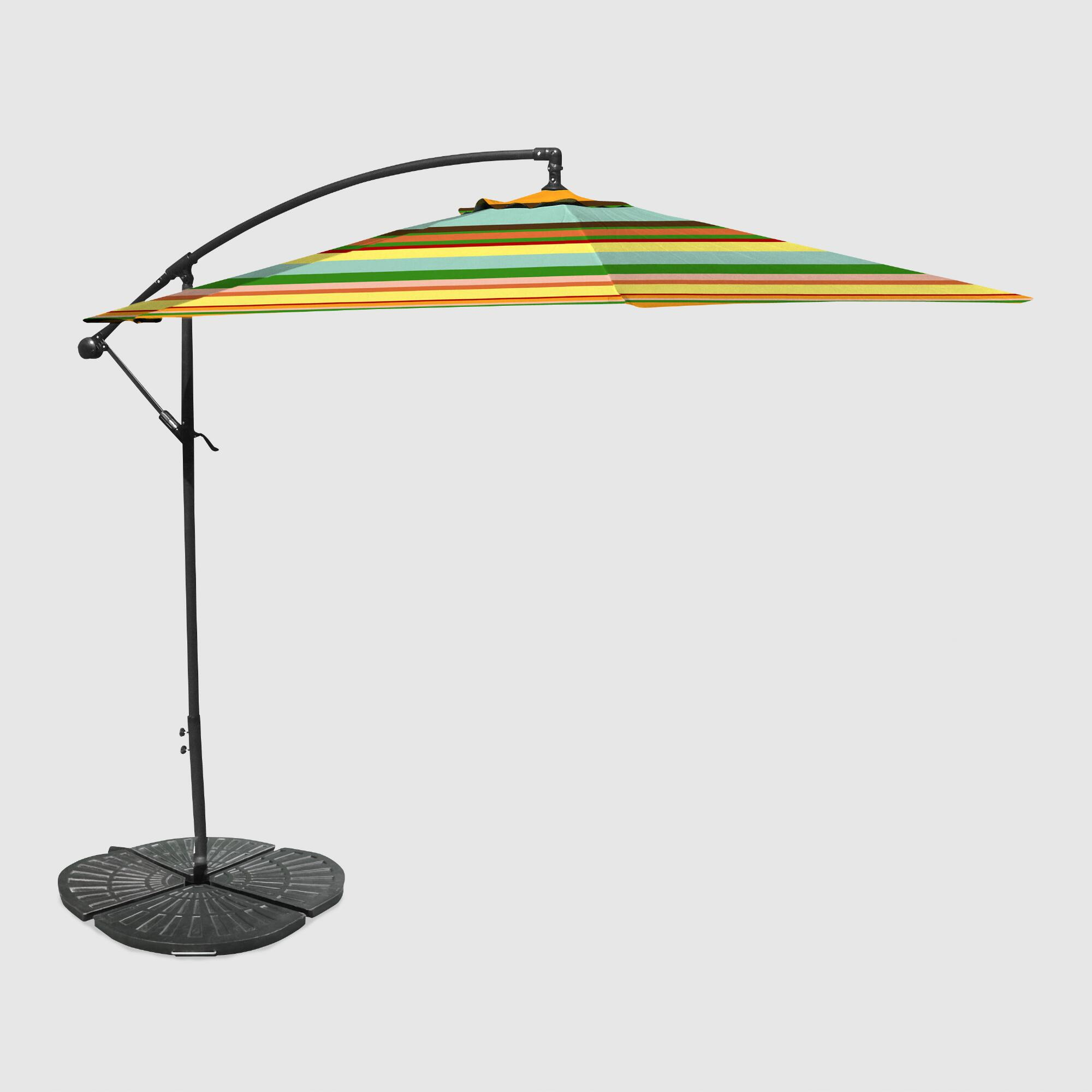 Outdoor Kitchen Umbrella: Havana Stripe 10 Ft Outdoor Cantilever Umbrella And Weight