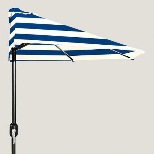 Cafe Stripe Outdoor Half Umbrella