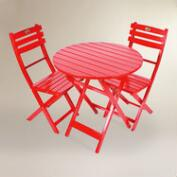 Red Wood 3 Piece Outdoor Bistro Set