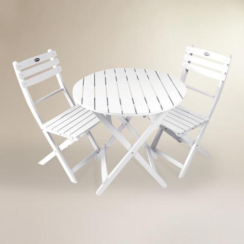 White Wood 3 Piece Outdoor Bistro Set