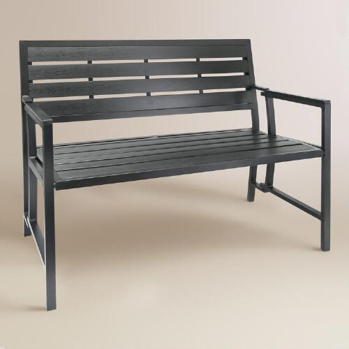 Gray Aluminum Outdoor Folding Bench