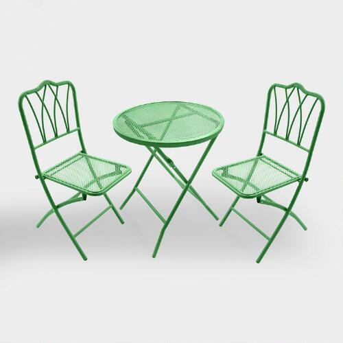 Green Metal 3 Piece Outdoor Bistro Set
