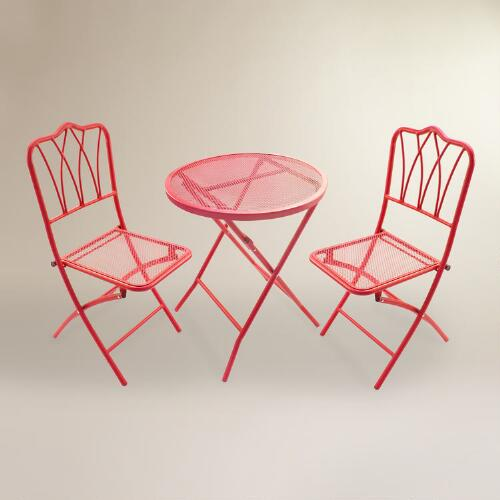 Red Metal 3 Piece Outdoor Bistro Set