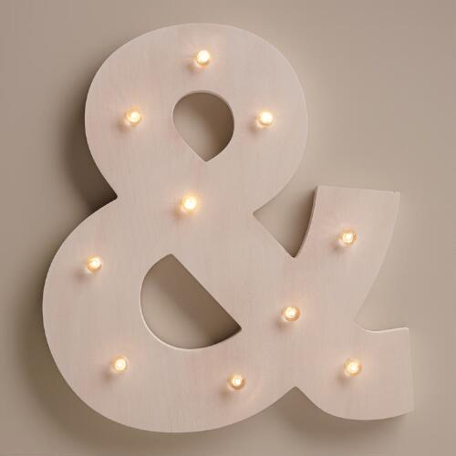 White Ampersand LED Battery Operated Marquee Light