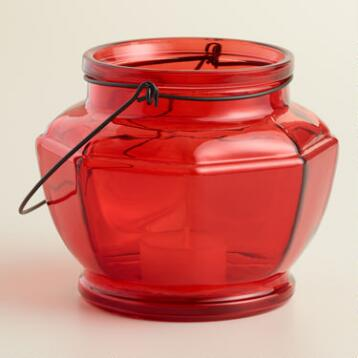 Red Glass Hexagon Lantern Candleholder