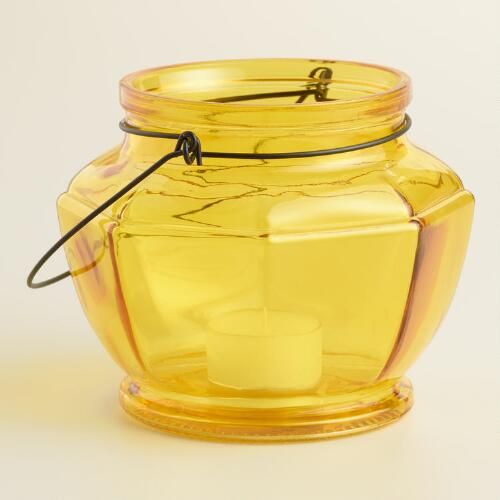 Yellow Glass Hexagon Lantern Candleholder
