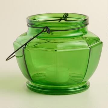 Green Glass Hexagon Lantern Candleholder