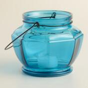 Blue Glass Hexagon Lantern Candleholder