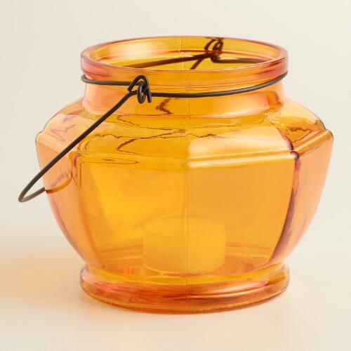 Orange Glass Hexagon Lantern Candleholder