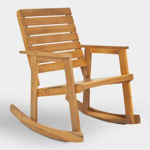 Natural Brown Wood Outdoor Rocking Chair