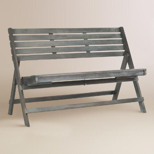 Ash Gray Wood Outdoor Folding Bench