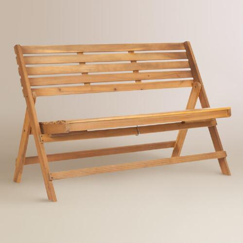 Natural Brown Wood Outdoor Folding Bench