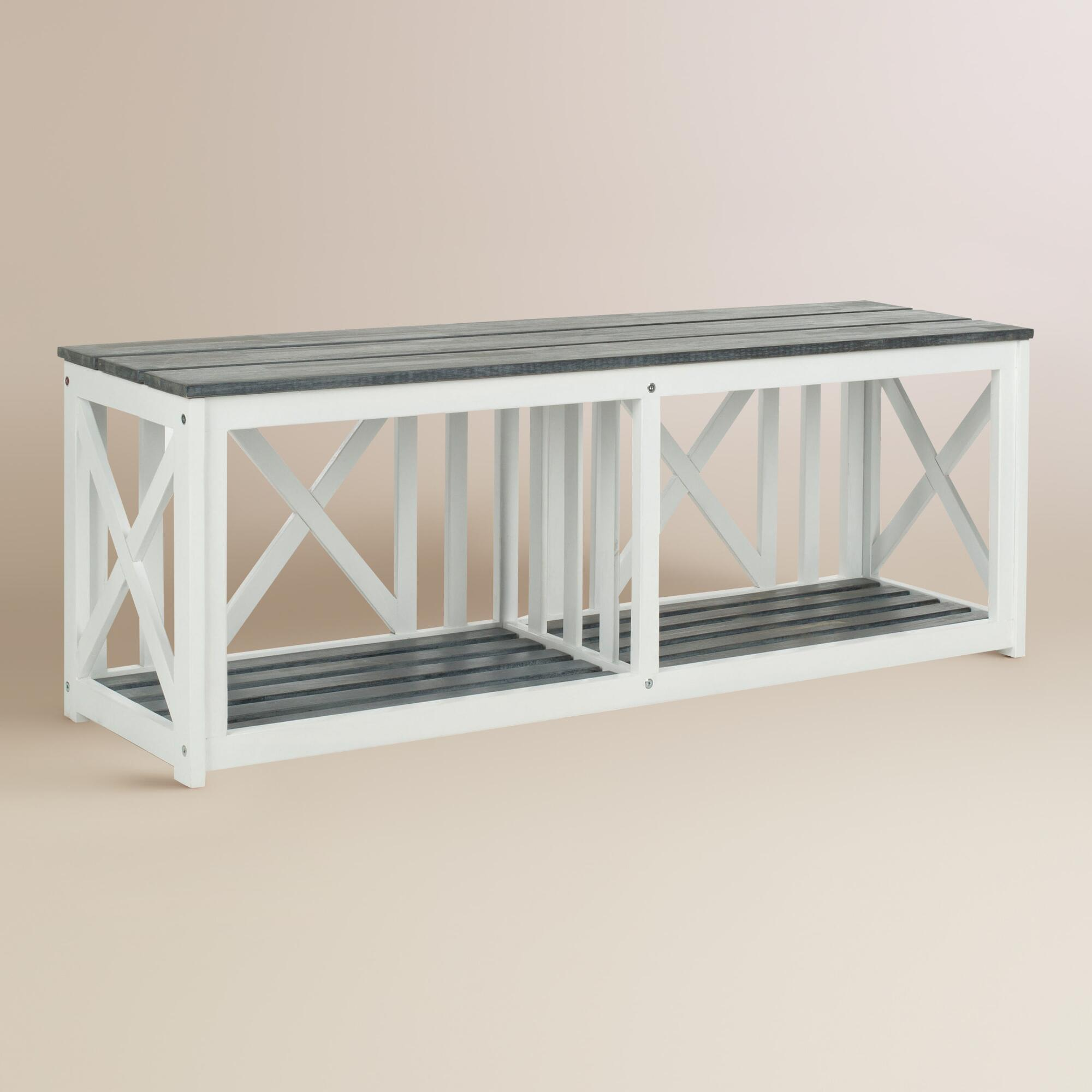 Ash Gray And White Wood Adlon Outdoor Bench World Market