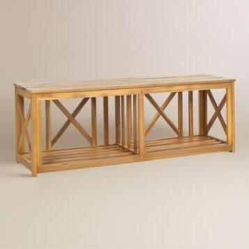 Natural Brown Wood Adlon Outdoor Bench