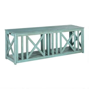 Sea Blue Wood Adlon Outdoor Bench